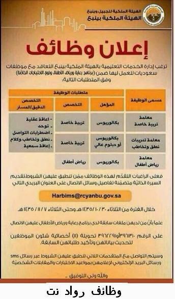 وظائف معلمات الهيئة الملكية ينبع 1435