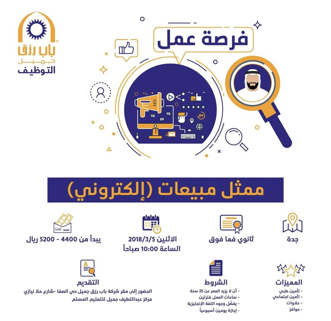 وظائف مبيعات في جدة عن طريق باب رزق جميل التقديم غداً الاثنين