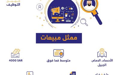 وظائف ممثلي مبيعات في الدمام الجبيل الاحساء رواتب 4000 ريال