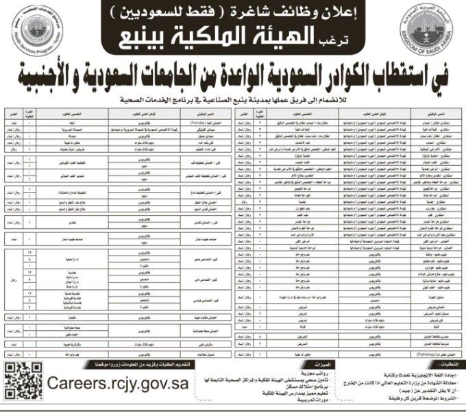 الهيئة الملكية في ينبع وظائف بأعداد كبيرة في مجال الخدمات الصحية