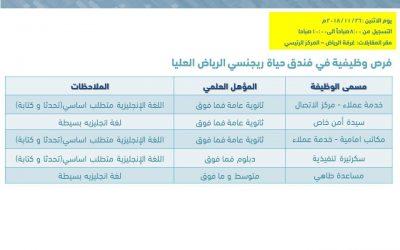 فندق حياة ريجنسي الرياض وظائف خدمة عملاء وأمن ومكاتب امامية وسكرتيرة