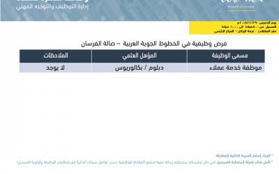 الخطوط الجوية العربية وظائف نسائية لخريجات دبلوم او بكالوريوس في الرياض