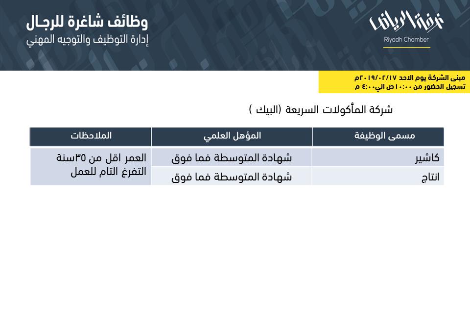 شركة البيك وظائف كاشير و انتاج في الرياض التقديم يوم الاحد