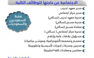 جمعية الملك عبدالعزيز الاهلية في #حائل وظائف نسائية ورجالية بمسميات مختلفة