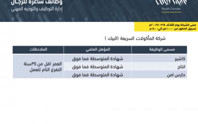 مطاعم البيك وظائف في الرياض لحملة الكفاءة المتوسطة واعلى