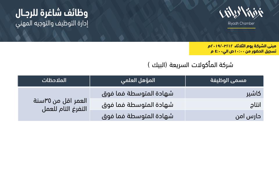 شركة البيك وظائف في الرياض كاشير وحراس امن وانتاج لحملة الكفاءة المتوسطة واعلى