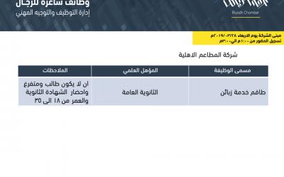 وظائف في الرياض طاقم خدمة وبائعي تجزئة
