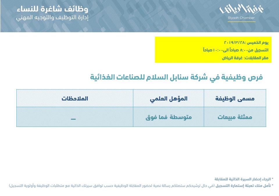 شركة سنابل السلام وظائف ممثلة مبيعات في الرياض