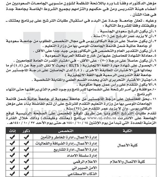 جامعة جدة بعثتك وظيفتك لخريجي البكالوريوس
