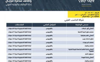 شركة الحاسب العربي وظائف تقنية معلومات بمسميات مختلفة في الرياض