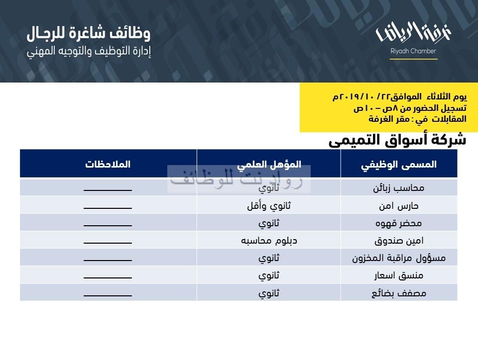 وظائف شاغرة في اسواق التميمي في الرياض