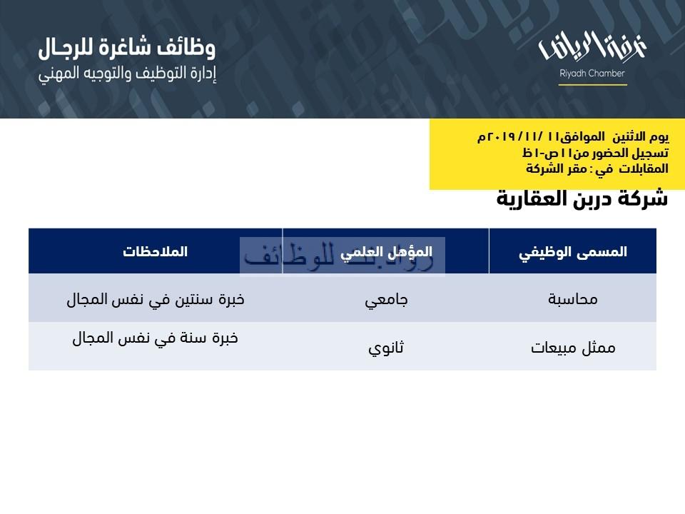 شركة دربن العقارية وظائف محاسبة و ممثل مبيعات في الرياض