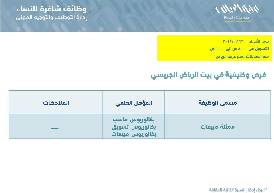 بيت الرياض الجريسي وظائف مبيعات لخريجات الحاسب والتسويق والمبيعات
