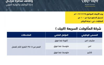 وظائف البيك في الرياض مشرف أمن وأمن وكاشير