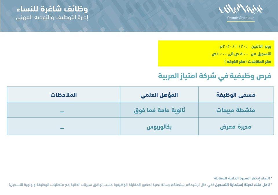 شركة امتياز العربية وظائف نسائية منشطة مبيعات ومديرة معرض