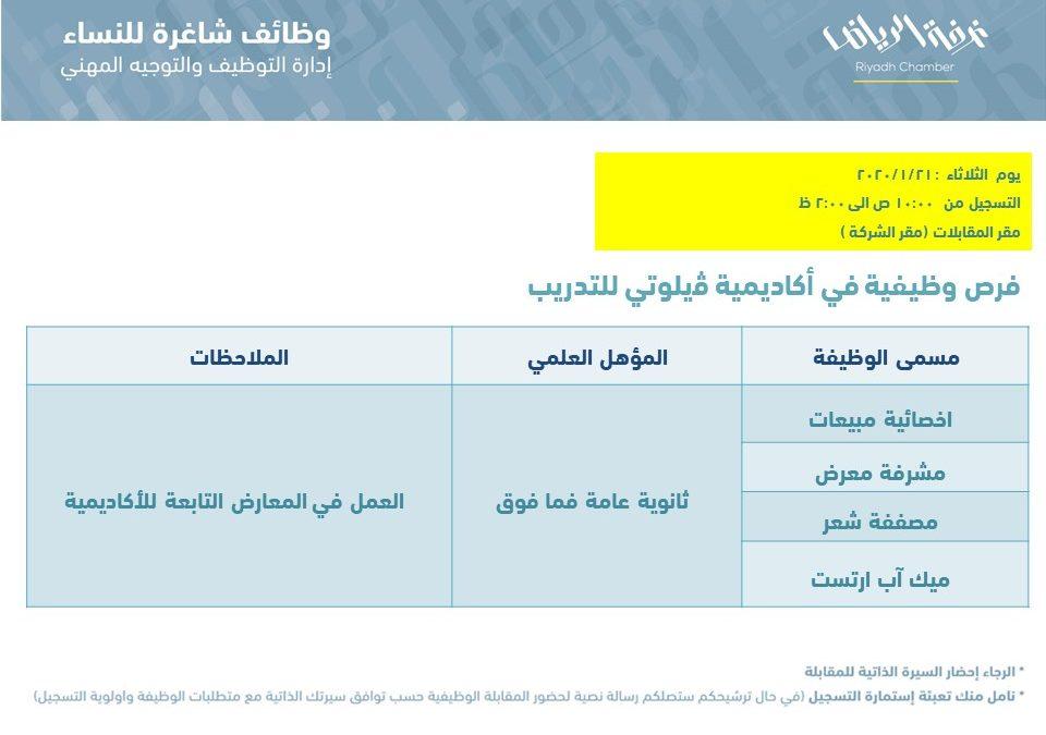 اكاديمية فيلوتي للتدريب وظائف اخصائية مبيعات ومشرفة معرض ومصففة في الرياض