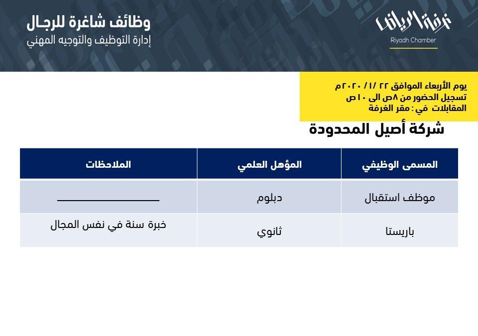 شركة اصيل المحدودة وظائف استقبال وباريستا في الرياض