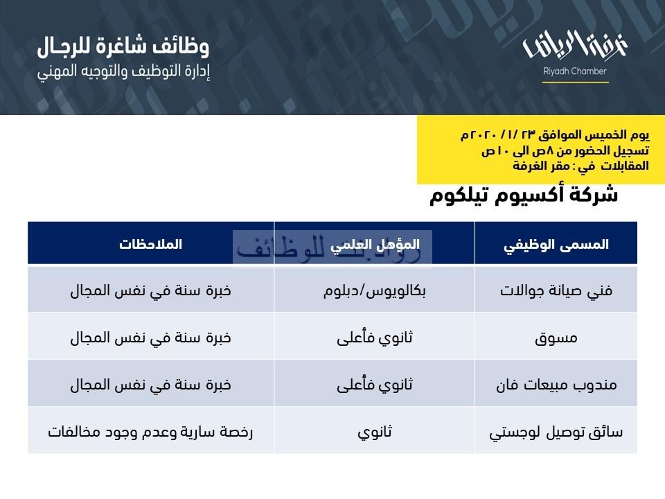 شركة اكسيوم تيلكوم وظائف متعددة في الرياض