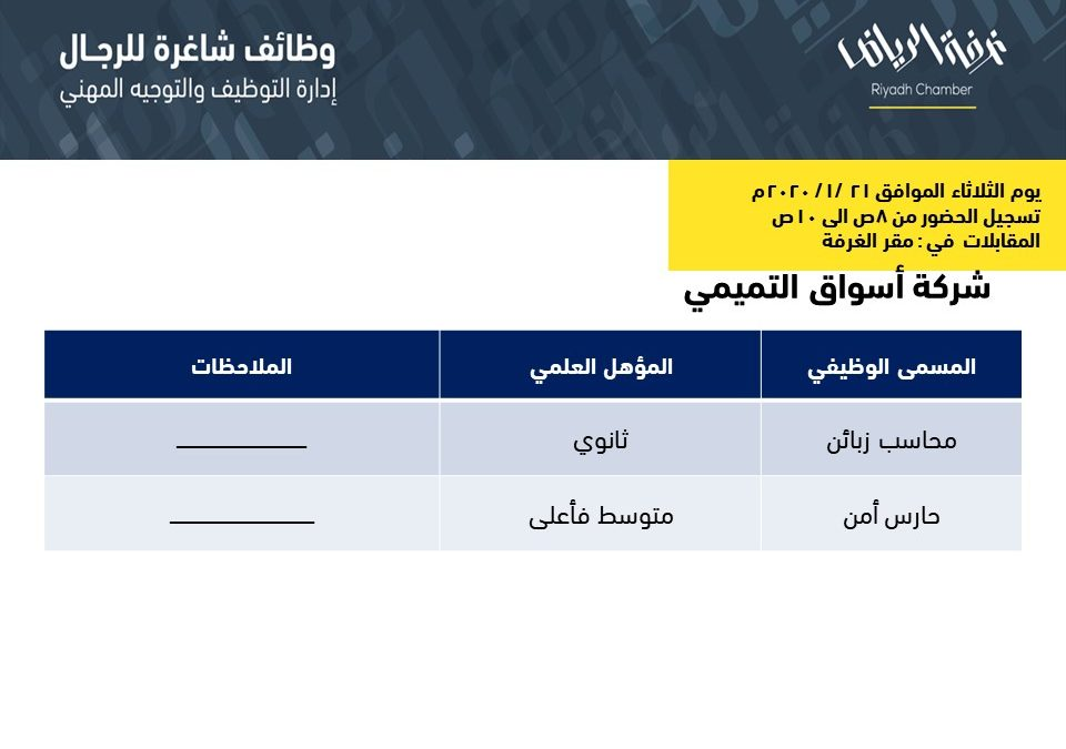 اسواق التميمي وظائف في الرياض محاسب زبائن وحارس أمن
