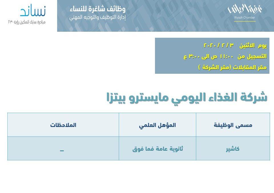مايسترو بيتزا وظائف نسائية بمسمى كاشير في الرياض