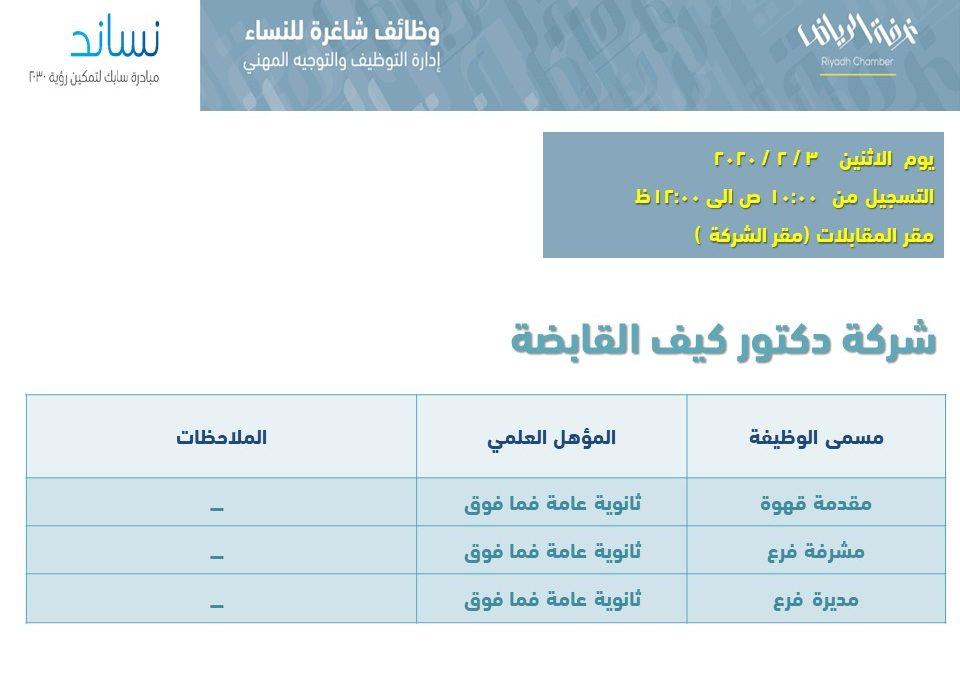 د.كيف وظائف نسائية مشرفة فرع ومديرة فرع ومقدمة قهوة في الرياض