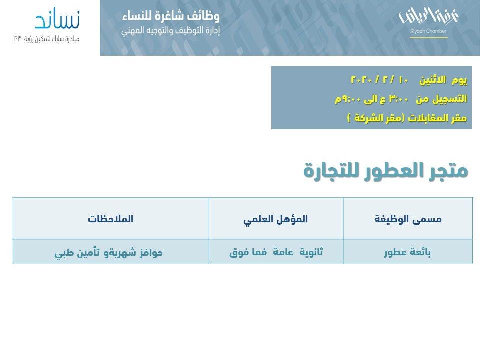 متجر العطور للتجارة وظائف بائعات عطور في الرياض