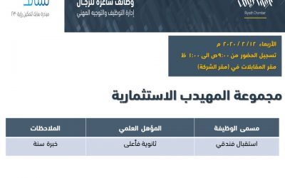 شركة المهيدب وظائف استقبال فندقي في الرياض