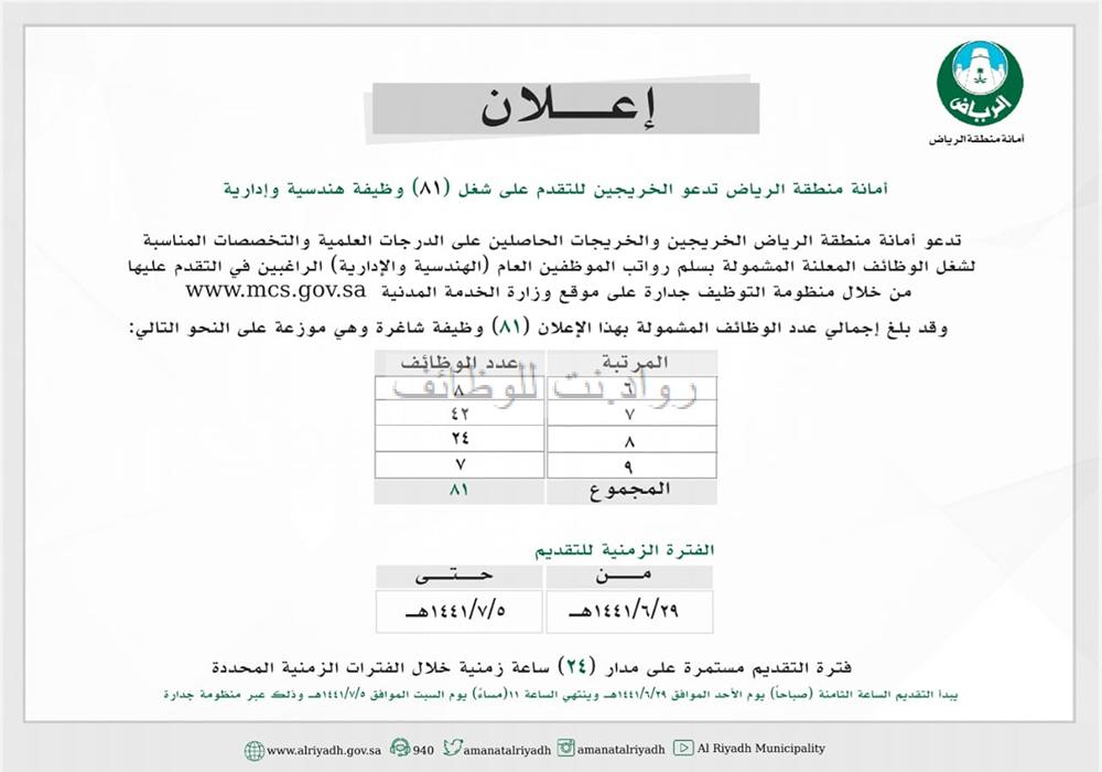 أمانة الرياض 81 وظيفة هندسية وإدارية والتقديم من خلال جدارة