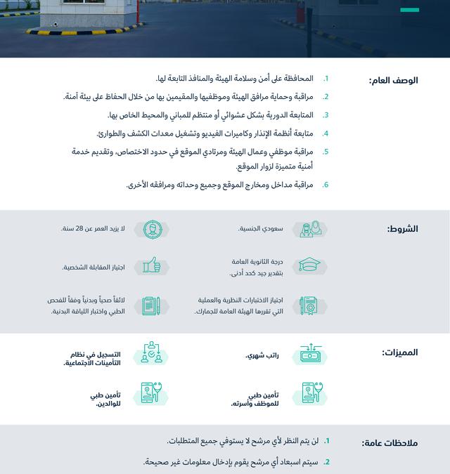 الجمارك السعودية وظائف أمن وسلامة لخريجي الثانوية