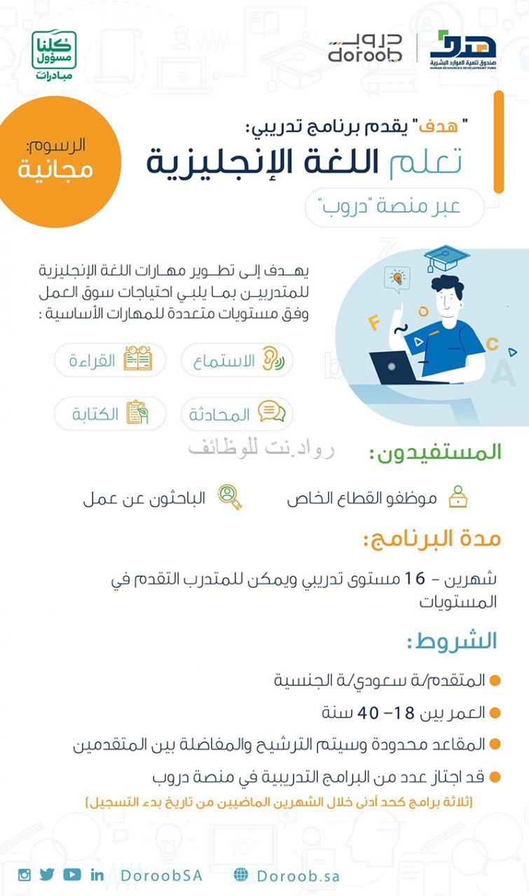 دورة لتعليم اللغة الانجليزية من منصة دروب لمدة شهرين