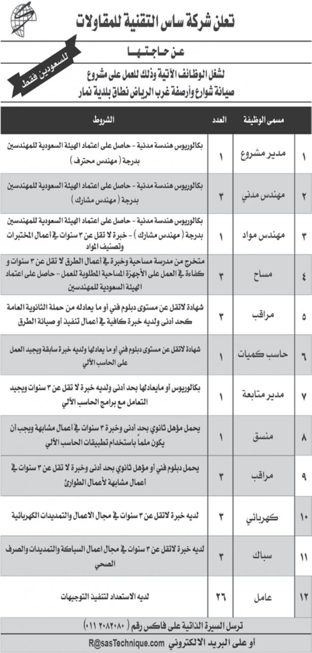 إعلان 49 وظيفة متنوعة لحملة الثانوية فأعلى في عقود أمانة الرياض
